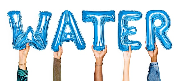 Palabra de globos de manos mostrando las aguas