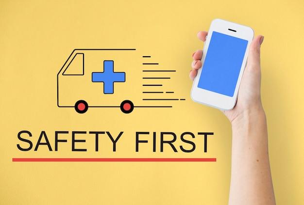 Palabra de icono de atención médica de vehículo de ambulancia de emergencia