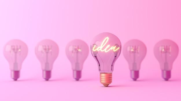 Palabra de idea brillando en una bombilla