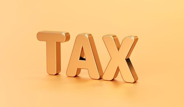 Palabra de impuestos de oro del concepto financiero empresarial o impuestos de dinero de pago
