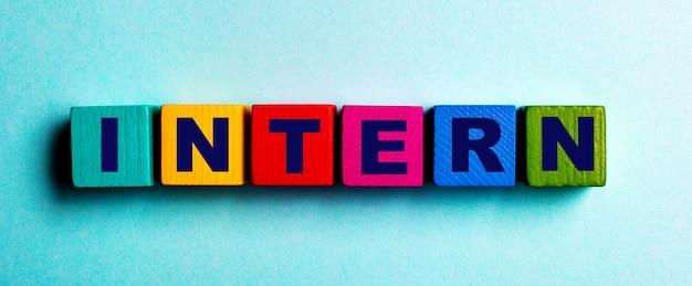La palabra intern está escrita en cubos de madera brillantes multicolores sobre una superficie azul claro