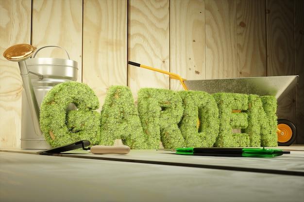 Palabra de jardín cubierta de hierba y flores. representación 3d de alta calidad