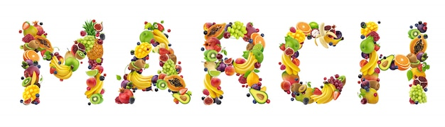 Palabra de marzo hecha de diferentes frutas y bayas
