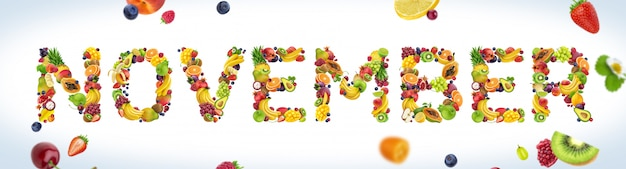 Palabra de noviembre hecha de frutas tropicales y exóticas