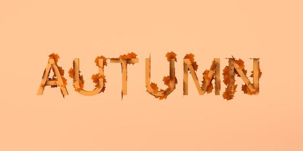 Palabra de otoño llena de hojas secas. banner de bienvenida de la temporada de otoño. ilustración 3d.