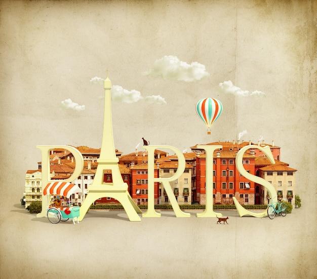 Palabra parís en la plaza con edificios antiguos de la ciudad europea