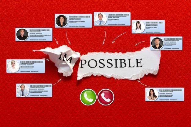 La palabra posible con contactos de videoconferencia