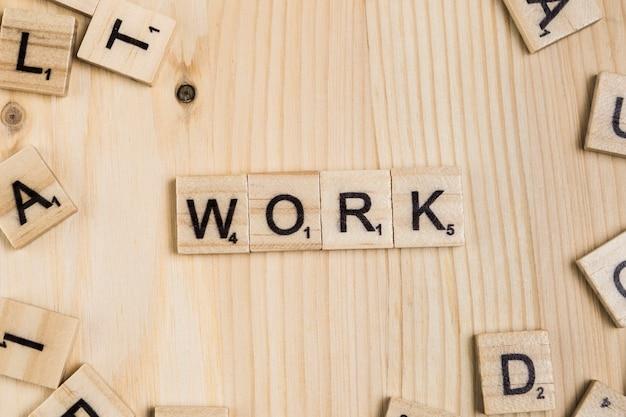 Palabra de trabajo sobre baldosas de madera