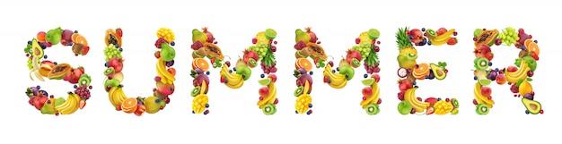 Palabra verano hecho de diferentes frutas y bayas, fuente de fruta aislado en blanco