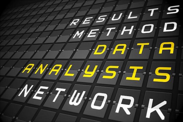 Palabras de análisis de datos en tablero mecánico negro