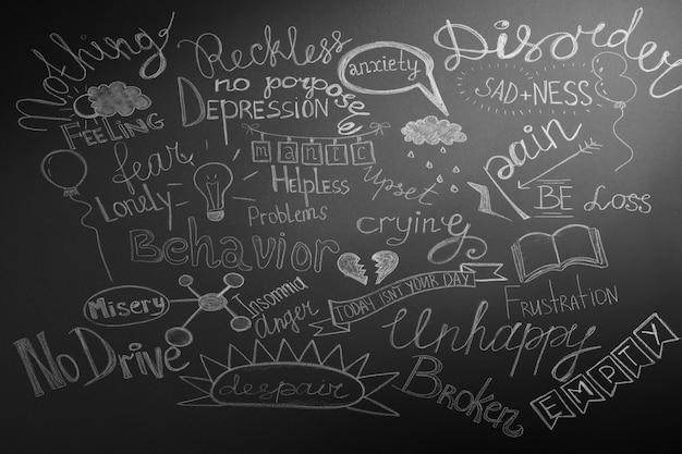Palabras dibujadas sobre fondo con muchos problemas.