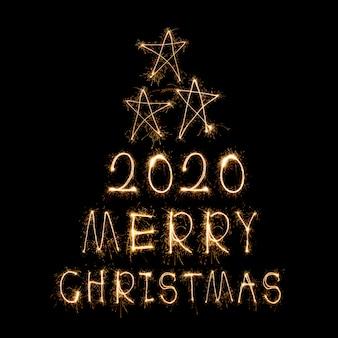 Palabras de fuegos artificiales haciendo feliz navidad