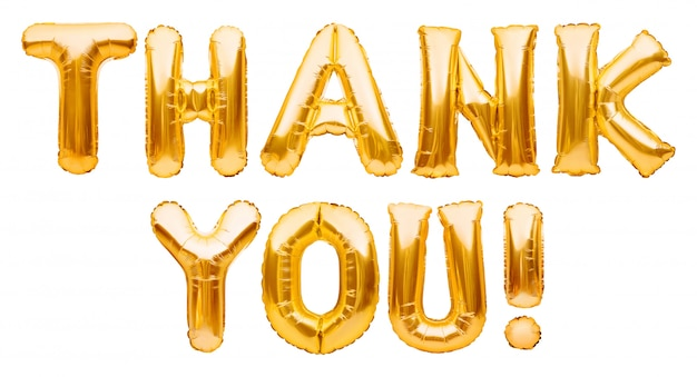 Palabras gracias hechas de globos inflables dorados aislados en blanco