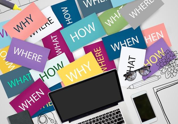 Palabras en papeles con laptop en la oficina.