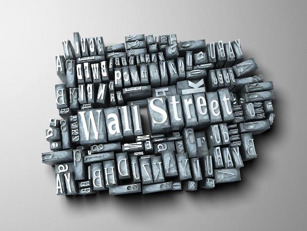 Las palabras wall street escritas en casos de letras impresas