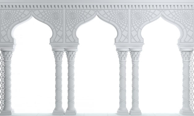 Palacio arcade oriental blanco en el estilo árabe.