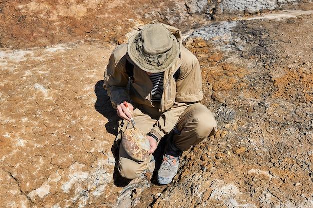 Paleontólogo sosteniendo y cepilla un fósil ovoide redondeado que se asemeja a un huevo de dinosaurio en un desierto