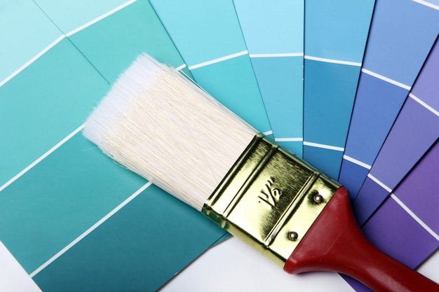 Paleta de colores catálogo o esquema y pincel