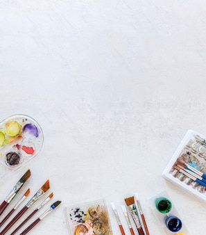 Paleta de colores en el fondo del espacio de copia de caja