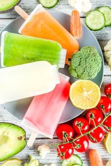 Paletas de helado de vegetales de moda