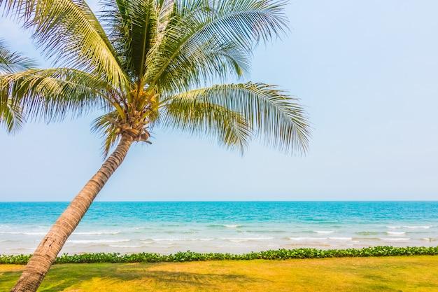 Palmera de coco en la playa tropical y el mar