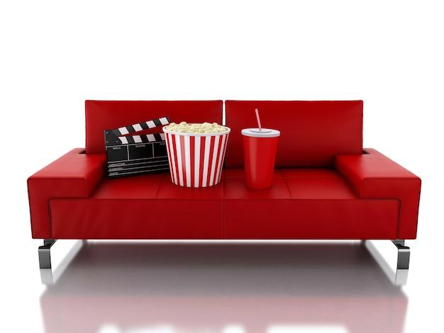 Palomitas 3d y bebida en el sofá. concepto de cine