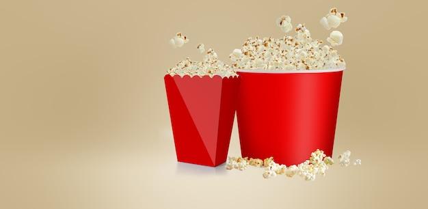 Palomitas de maíz saladas aisladas en blanco, caja de cartón de taza roja de representación 3d