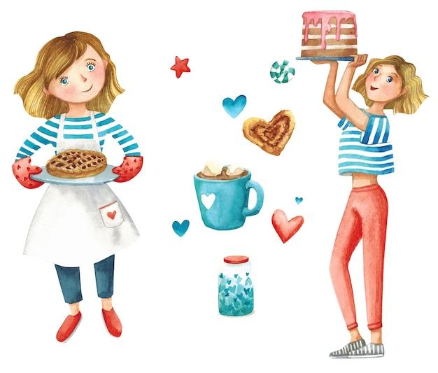 Panadería de niña y dulces con corazones ilustración acuarela de cafetería