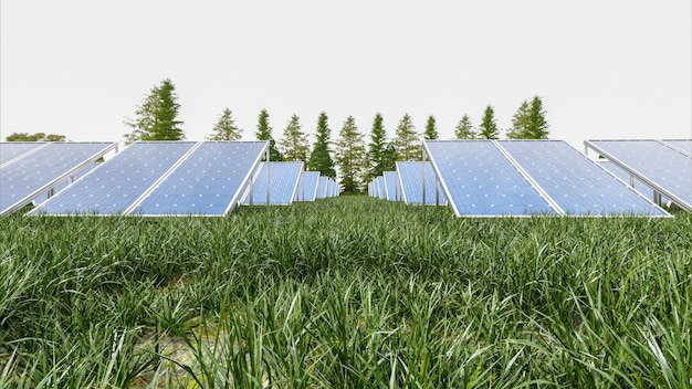 Panel de energía solar en el cielo, render 3d