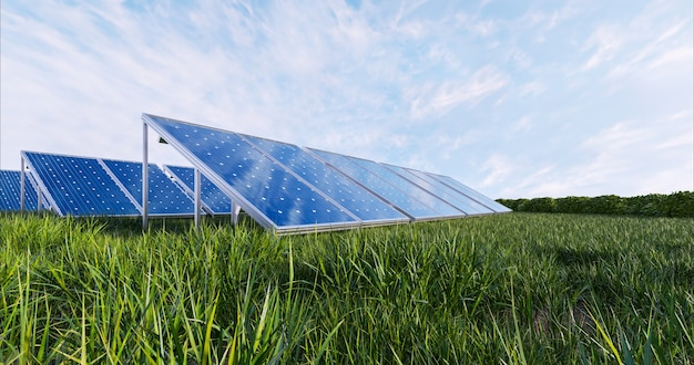 Panel de energía solar sobre fondo de cielo, render 3d