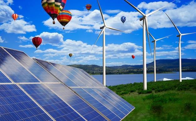 El panel solar y el aerogenerador cultivan energía limpia.