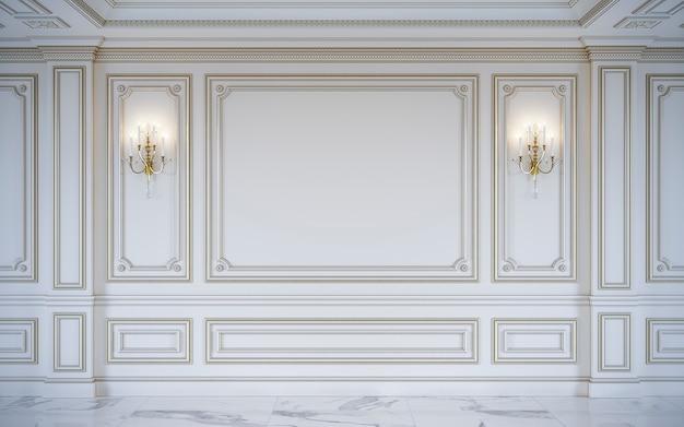 Paneles de pared blancos en estilo clásico con dorado. representación 3d