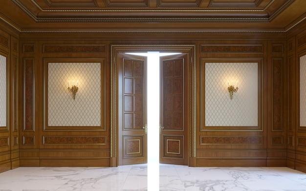 Paneles de pared de madera en estilo clásico con dorado. representación 3d