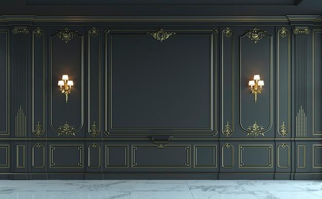 Paneles de pared negros en estilo clásico con dorado. representación 3d