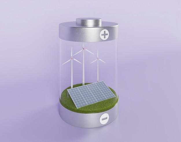 Paneles solares 3d y molino de viento.