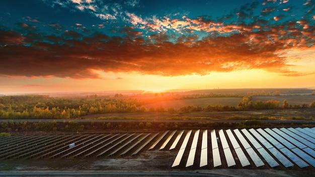 Paneles solares en vista aérea. sistema de paneles solares generadores de energía del sol