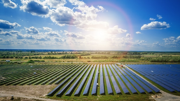 Paneles solares en vista aérea