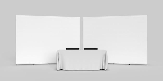 Paño para pancartas de pared de exposición dos paredes una al lado de la otra con un mantel y dos sillas de director