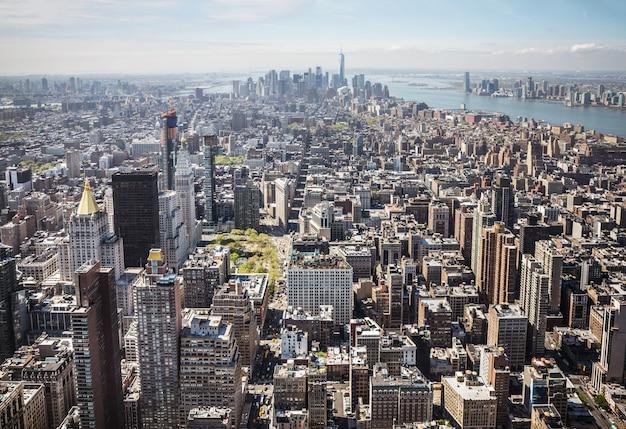 Panorama de manhattan en la ciudad de nueva york