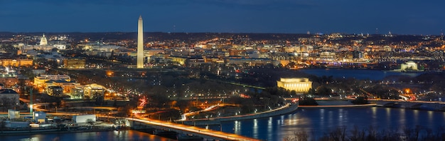 Panorama vista superior de la escena de la ciudad de washington dc que puede ver el capitolio de los estados unidos
