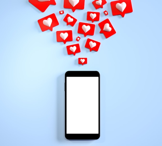 Pantalla en blanco de maqueta de teléfono móvil con muchas redes sociales como notificaciones d render