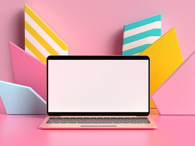 Pantalla en blanco portátil pantalla representación 3d simulacro