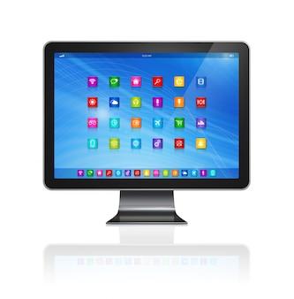 Pantalla de computadora hd con interfaz de iconos de aplicaciones