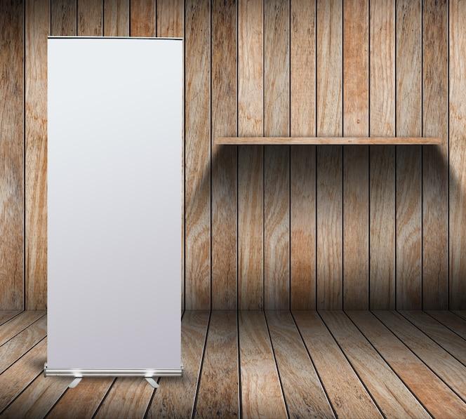 Pantalla de pancarta enrollada en blanco en sala de madera