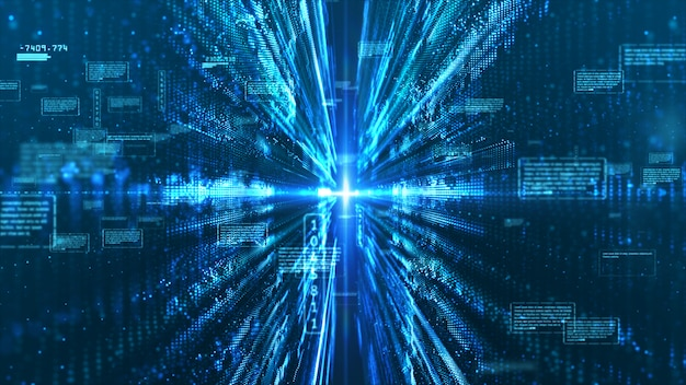 Pantalla digital de alta tecnología con información holográfica resumen de antecedentes.