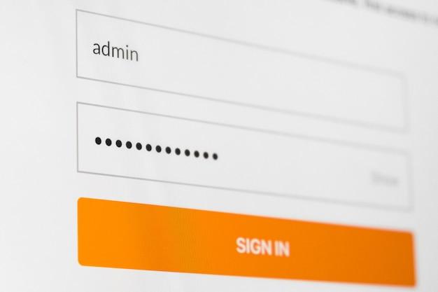 Pantalla de ingreso al sistema. nombre de usuario y contraseña en la pantalla de la computadora