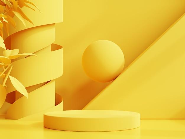 Pantalla de maqueta de podio amarillo para presentación del producto, renderizado 3d