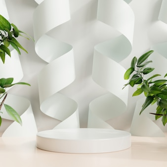 Pantalla de maqueta de podio para presentación de productos, renderizado 3d