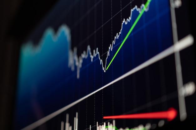 Pantalla de negocios con gráficos y datos de la bolsa de valores