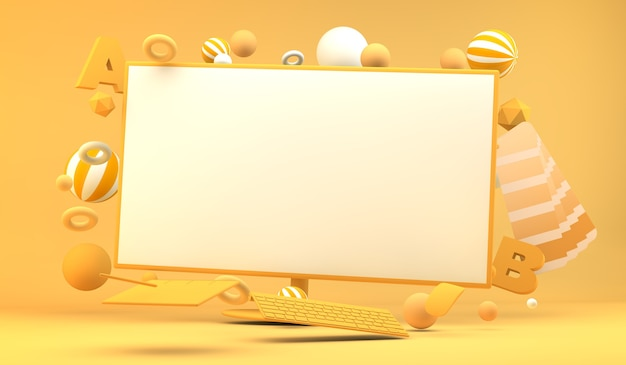 Pantalla de ordenador rodeada de elementos de diseño gráfico render 3d